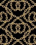 Sömlös modell för vektor av guld- kedjor Arkivbild