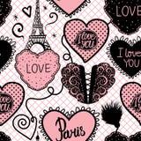 Sömlös modell för vektor av hjärtahandattraktion och Eiffeltorn Gullig svart- och rosa färgpalettfärg vektor illustrationer