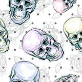 Sömlös modell för vektor av mänskliga skallar och rosor Magiskt symbol av sakralt liv och bitter sanning Mystikersymbol anatomica arkivbild