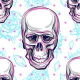 Sömlös modell för vektor av mänskliga skallar och rosor Magiskt symbol av sakralt liv och bitter sanning Mystikersymbol anatomica royaltyfri bild