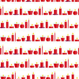 Sömlös modell för vektor av olika brinnande röda stearinljus Arkivfoton