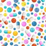 Sömlös modell för vektor av preventivpillerar och andra farmaceutiska ellements stock illustrationer