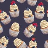 Sömlös modell för vektor av smuliga försiktiga våta ljusbruna muffin med en bedöva mjuk luftostkräm, med saftigt royaltyfri illustrationer