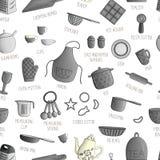 Sömlös modell för vektor av svartvita kökhjälpmedel royaltyfri illustrationer