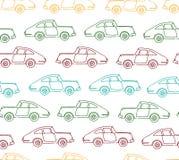 Sömlös modell för vektor av texturerade retro bilar stock illustrationer