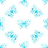 Sömlös modell för vektor av vattenfärgfjärilar Royaltyfri Fotografi