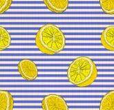 Sömlös modell för vektor, citroner, citrus blått och vit bakgrund för bakgrund, för Stiped, linnetextiltextur vektor illustrationer