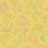 Sömlös modell för vektor med abstrakta blommor gul bakgrund Royaltyfri Bild