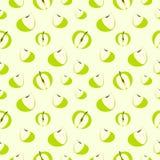 Sömlös modell för vektor med beståndsdelar av gröna äpplen Royaltyfri Bild