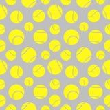 Sömlös modell för vektor med beståndsdelar av gula tennisbollar Arkivfoton