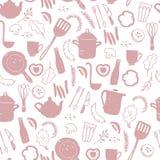 Sömlös modell för vektor med bestick- och kitchenwarebeståndsdelar - panna, kruka, gaffel, kniv, grönsaker, krydda, korv, äggdrev royaltyfri illustrationer