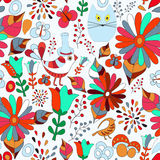 Sömlös modell för vektor med blomman, fågeln och fjärilen, tecknad film Royaltyfri Fotografi
