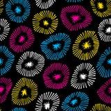 Sömlös modell för vektor med blommor på svart bakgrund Bakgrund med dekorativ textur för cirkel Arkivfoto