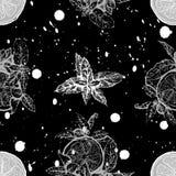 Sömlös modell för vektor med citronen och mintkaramellen Royaltyfria Bilder