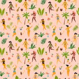 Sömlös modell för vektor med dansladyes i baddräkter och tropiska palmblad stock illustrationer