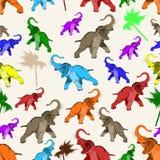Sömlös modell för vektor med den asiatiska elefanten stock illustrationer