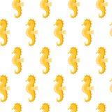 Sömlös modell för vektor med den gulliga Yellow Sea hästen på vit bakgrund royaltyfri illustrationer