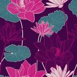 Sömlös modell för vektor med den härliga rosa lotusblommablomman och gre Royaltyfria Bilder