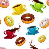 Sömlös modell för vektor med donuts och kaffe vektor illustrationer