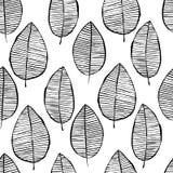 Sömlös modell för vektor med drog sidor för vattenfärg hand Svart vit översiktsbakgrund Moderiktig scandinavian design stock illustrationer