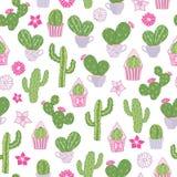 Sömlös modell för vektor med en kaktus för taggigt päron för öken och andra kakturs stock illustrationer
