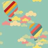 Sömlös modell för vektor med färgrika ballonger för varm luft på sken Arkivbild
