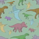 Sömlös modell för vektor med färgrika dinosaurier Arkivbild