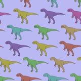 Sömlös modell för vektor med färgrika dinosaurier Arkivfoton
