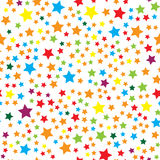 Sömlös modell för vektor med färgrika stjärnor stock illustrationer