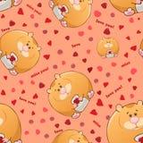Sömlös modell för vektor med feta hamstrar för gullig tecknad film roliga djur Tjocka underhållande fän Textur p? rosa bakgrund m royaltyfri illustrationer