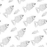 Sömlös modell för vektor med fiskar Royaltyfria Bilder