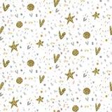 Sömlös modell för vektor med fyrverkerier, konfettier, stjärnor, hjärtor royaltyfri illustrationer