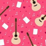 Sömlös modell för vektor med gitarrer, lyriska dikter, anmärkningar och hjärtor Royaltyfria Bilder