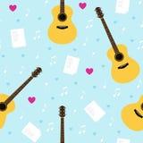 Sömlös modell för vektor med gitarrer, lyriska dikter, anmärkningar och hjärtor Royaltyfri Bild