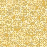Sömlös modell för vektor med gul textur för retro blommor stock illustrationer
