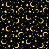 Sömlös modell för vektor med gula stjärnor och halvmånformig på svart stock illustrationer