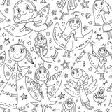 Sömlös modell för vektor med gulliga feer i barns teckning Royaltyfria Bilder