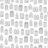 Sömlös modell för vektor med gulliga hus på vit bakgrund stock illustrationer
