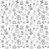 Sömlös modell för vektor med gulliga skogdjur vektor illustrationer