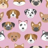 Sömlös modell för vektor med gulliga tecknad filmhundvalpar royaltyfri illustrationer