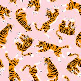 Sömlös modell för vektor med gulliga tigrar på den rosa bakgrunden Show för cirkusdjur Tygdesign royaltyfri illustrationer