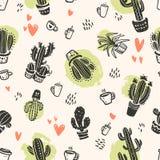 Sömlös modell för vektor med hand drog kaktus- och förälskelsebeståndsdelar som isoleras på ljus bakgrund Royaltyfri Fotografi