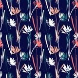 Sömlös modell för vektor med handen som drar lösa växter, örter och blommor, färgrik botanisk illustration som är blom- Arkivfoto
