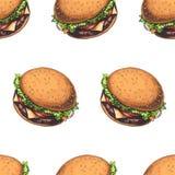 Sömlös modell för vektor med isolerade läckra hamburgare stock illustrationer