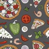 Sömlös modell för vektor med italienska pizzabeståndsdelar på grå bakgrund Utdragen pizzamodell för hand royaltyfri illustrationer