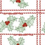 Sömlös modell för vektor med järnekbäret Julklotterbackg stock illustrationer