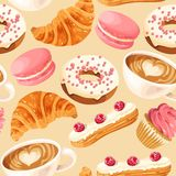 Sömlös modell för vektor med kaffe och donuts royaltyfri illustrationer