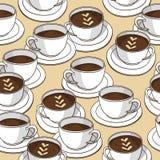Sömlös modell för vektor med kaffekoppar Arkivfoton