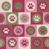 Sömlös modell för vektor med katt- eller hundfotspår Gullig colorfu Arkivbild