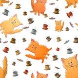 Sömlös modell för vektor med katter och koppar kaffe för gullig tecknad film kusliga roliga djur Textur på en vit bakgrund mall vektor illustrationer